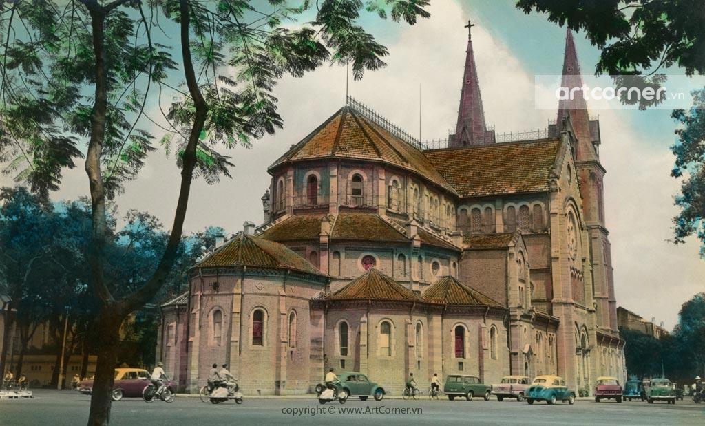Sài Gòn xưa - Nhà thờ Đức Bà - Saigon Notre-Dame Cathedral Basilica - Sài Gòn - 1955