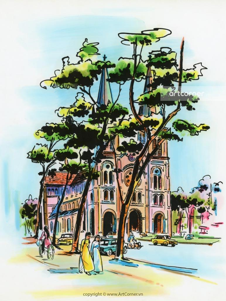 Sài Gòn xưa - Nhà thờ Đức Bà - Saigon Notre-Dame Cathedral Basilica - Sài Gòn - 1964